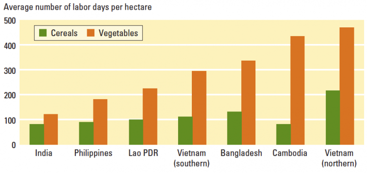 Average number of labor days per hectare – World Development Report (2008)