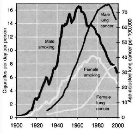 US cigarette consumption for all adult men and women, 1900-9, and lung and bronchus cancer, 1930-98, for men and women - Lomborg0