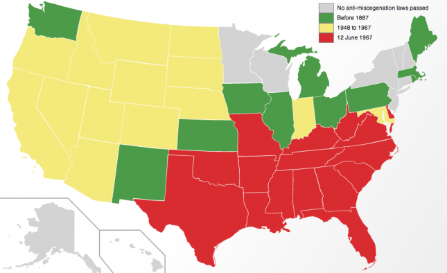 US Map of Dates of Repeal of US Anti-Miscegenation Laws by State - Wikipedia0