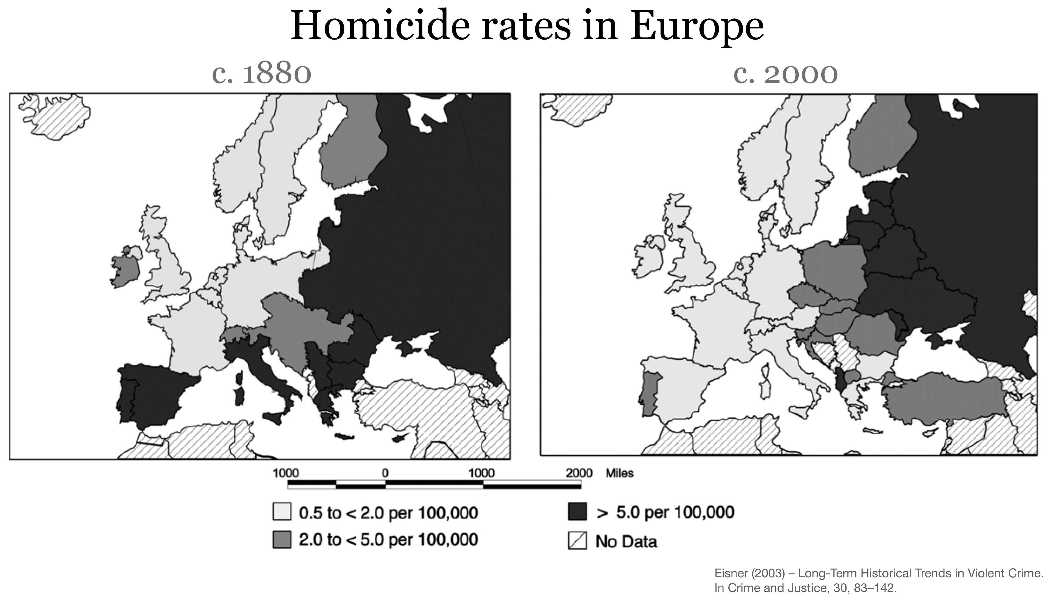 Homicides Our World In Data - Us map of crime rate by counties 2016