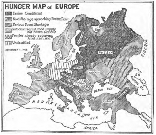 Hunger Map of Europe (December 1918) – The New York Times0