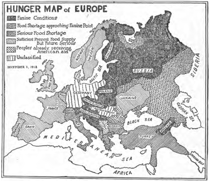 Hunger Map Of Europe May 1919 The New York Times