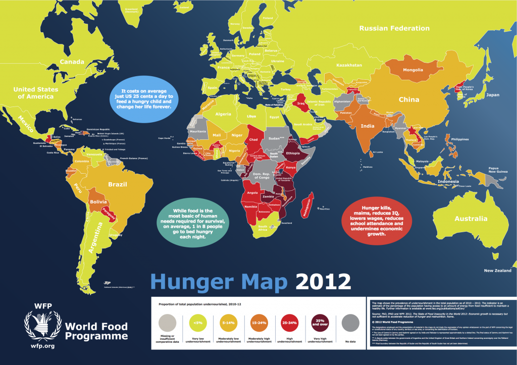 World Hunger Map (2012) - prevalence of undernourishment in the total population as of (2010-2012) – World Food Programme0