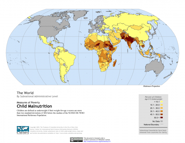 World Map of Child Malnutrition (Underweight Children) by Subnational Administrative Level – CIESIN at SEDAC (NASA)0