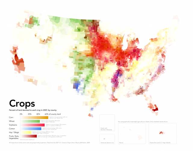 Land Use in the USA - Percent of Land devoted to each Crop in 2007, by County – Radical Cartography0