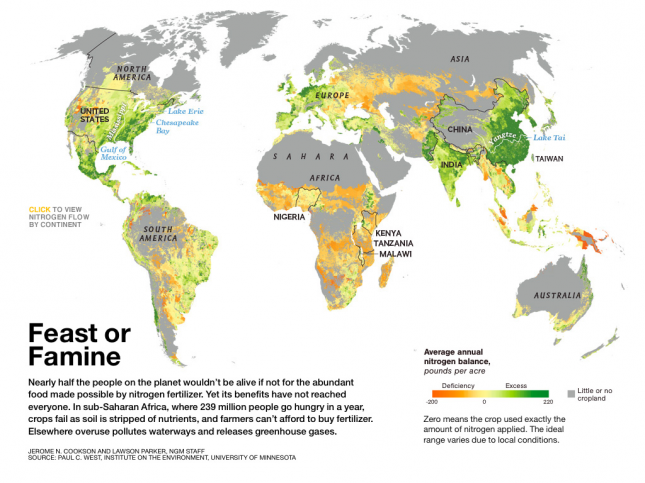 World Map of Average Annual Nitrogen Balance (pounds per acre) – National Geographic0