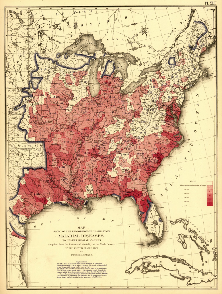 Proportion of deaths from malaria to deaths of all causes – US Census 1870
