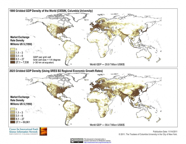 World GDP Density Map 1990 and 2025 – SEDAC (NASA)0