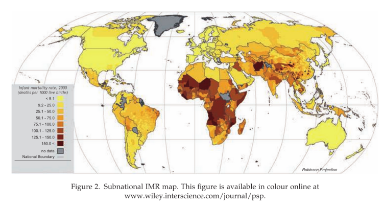 World map of infant mortality on the sub-national level
