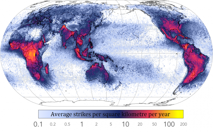 World Map of Frequency of lightning strikes – Wikipedia [NASA data]0