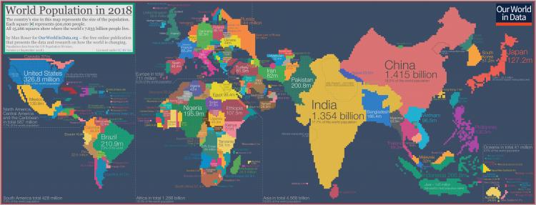 Population cartogram world 1
