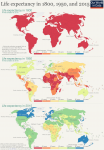 3 world maps of life expectancy