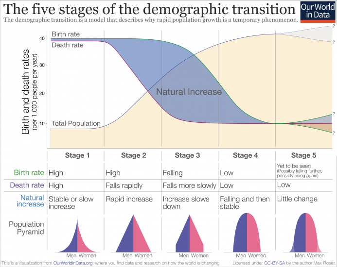 Demographic transition schematic