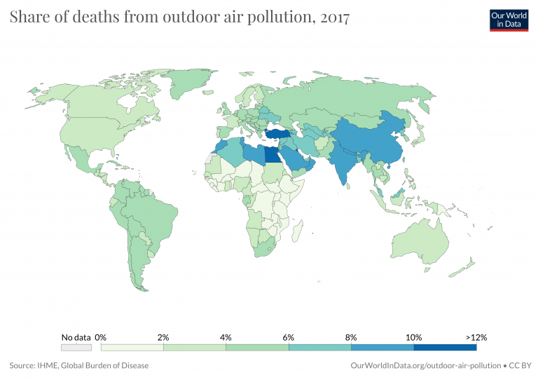 Share deaths outdoor pollution