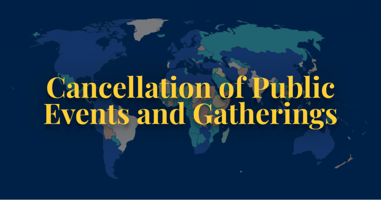COVID-19 policy cancellation of public events and gatherings