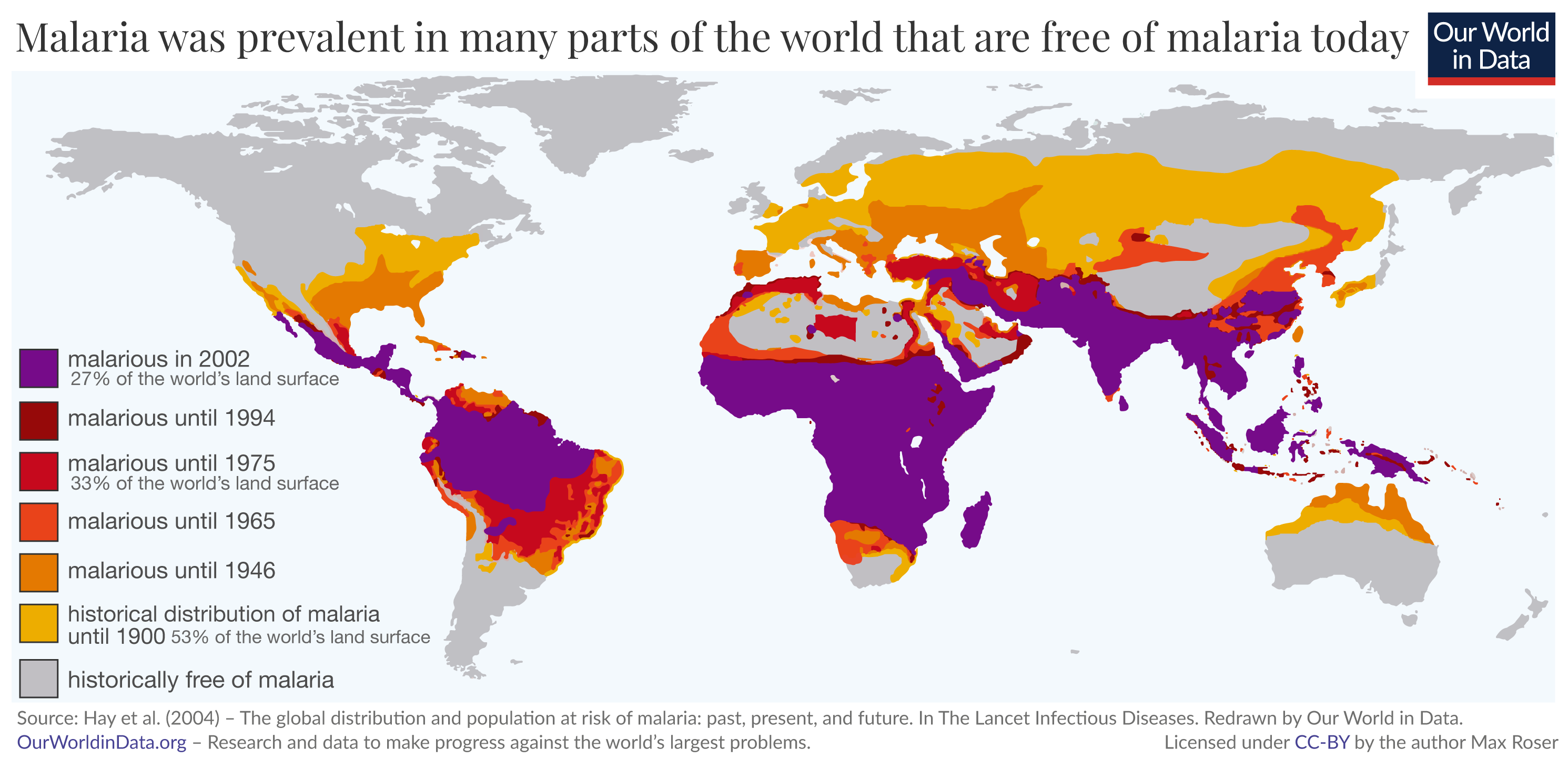 Previous prevalence of malaria world map 1